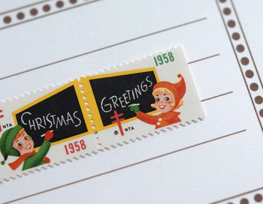 【取扱終了】クリスマスシール USA 1958スタンプ 切手 複十字シール アメリカ '58